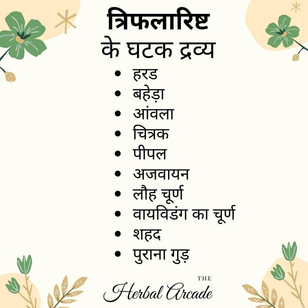 Triphalarishta contents Herbal Arcade